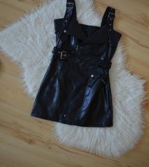 Bőr hatású fekete miniruha