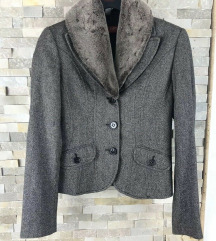 Van Graaf - Taifun gyapjú kabát szőrmével S méret