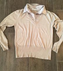 Bézs szinu női pulcsi szaten ingnyak megoldással