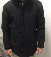 Férfi, Zara stílusú, szőrmés fekete télikabát