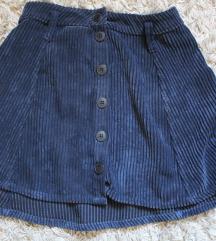 Bershka kordbársony kék szoknya (36/S)