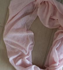 Rózsaszín, virágmintás körsál