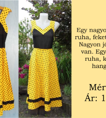 Sárga, fekete pöttyös ruha