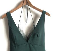 ZARA méregzöld, csipkés ruha