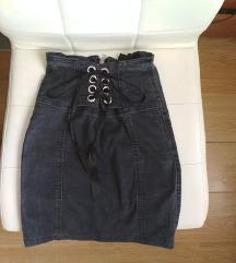 High waist lace-up szoknya