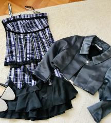 Ezüst-lila tüllös aljú báli ruha cipővel/boleróval