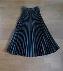 H&M fekete szatén pliszírozott maxi szoknya ÚJ!
