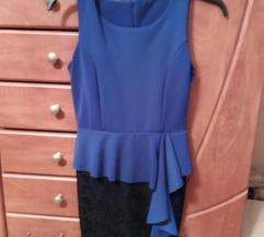 Kék, fekete csipkés, alkalmi ruha