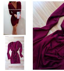 Bordó átlapolós ruha