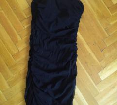 Fekete koktélruha, pánt nélküli, gumis