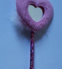 Rózsaszín szíves, tükrös toll - csere vagy 200 Ft