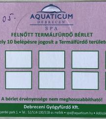Aquaticum Termálfürdő 10 alkalmas felnőtt bérlet
