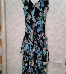 Fekete kék virágmintás gyöngyös muszlin ruha