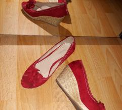 Piros éktalpú szalma szandál cipő magassarkú
