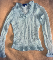 Csipke kötött halvány türkiz pulóver