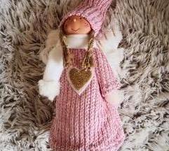Karácsonyi dekorfigura, lány manó pink