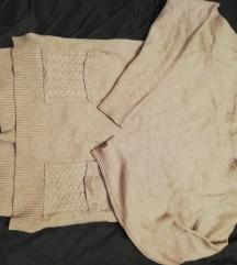 Drapp pulcsi hátul fűzős