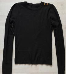 Fekete gyapjú kasmír keverék pulóver
