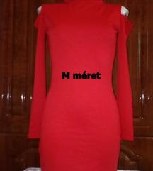 Új piros garbós, vállvillantós mini ruha