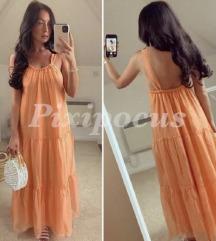 Zara narancssárga maxi ruha