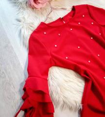 Gyönyörű fodros ujjú gyöngyös ruha S/M