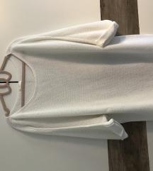 3/4 es ujjú kötött fehér pulover