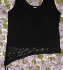 M - Új fekete kétrétegű top, necc, fémszál