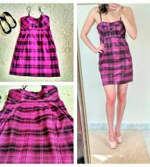 Rózsaszín fekete pántos, gumis derekú ruha (S-M)