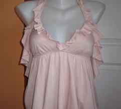 Világos rózsaszín fodros szexi női top