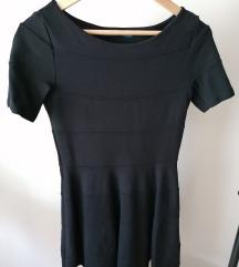 Zara csíkos anyagú A vonalú fekete ruha