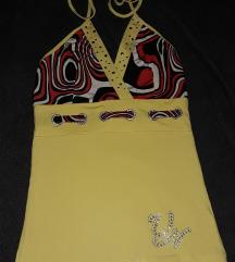 sárga mintás nyakbakötős felső