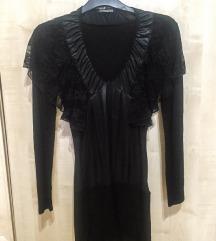 Sugarbird újszerű fekete ruha. Bőr és csipke. XS