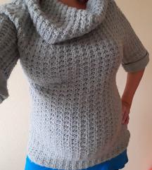 Kötött, halvány kékes szürke divatos pulóver