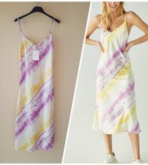 ÚJ CÍMKÉS! BERSHKA batikolt szatén slip dress XS/S