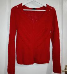 Kötött, horgolt élénk piros pulóver