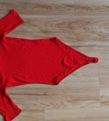 Bershka piros új bordázott body S
