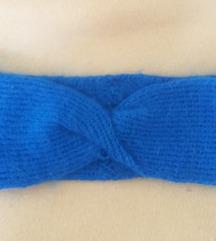 Kék kötött hajpánt/fejpánt