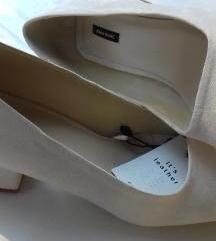 Fehér hasított bőr vastag sarkú cipő új