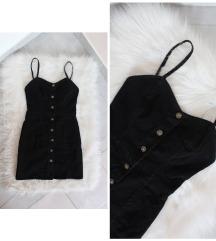 Elől gombos fekete farmer ruha