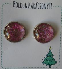 egyedi rózsaszín, csillogós fülbevaló