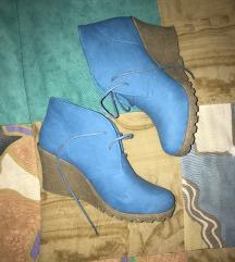 Kék őszi kék telitalpú bokacipő