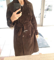 Bőrkabát - elegáns, hosszú, övvel