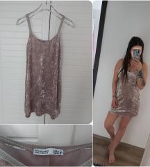 Zara bézs bársony ruha