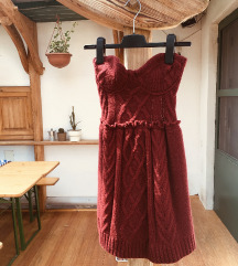 pántnélküli kötött bordó Stradivarius ruha