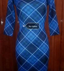 Új kék kockás testhezálló ruha xs és xl méretben