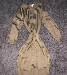 khaki h&m szatén ruha új elegáns