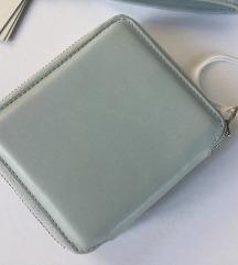 COS bőr kék pénztárca+kulcstartó