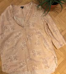 Virágos púder rózsaszín vászon blúz