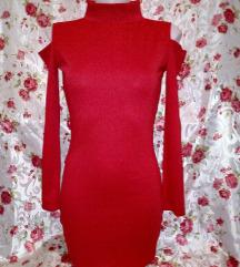 Új piros garbós, vállvillantós mini ruha M