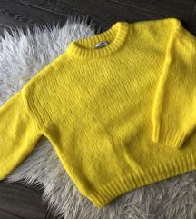 Mango élénk citromsárga kötött pulóver